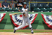 Carlos Penalver #6 of the Kane County Cougars swings against the Clinton LumberKings at Ashford University Field on July 6, 2014 in Clinton, Iowa. The LumberKings won 1-0.   (Dennis Hubbard/Four Seam Images)