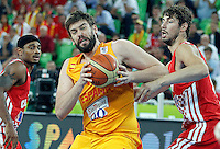 "Marc Gasol of Spain in action during European basketball championship ""Eurobasket 2013""  basketball game for 3rd place between Spain and Croatia in Stozice Arena in Ljubljana, Slovenia, on September 22. 2013. (credit: Pedja Milosavljevic  / thepedja@gmail.com / +381641260959)"