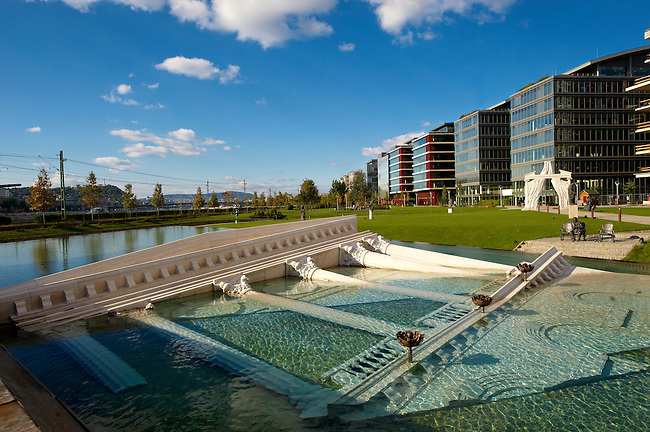 Vodafone & Morgan Stanley headquarters in the Buisness park next to the National Theatre, Lachner Odon Fasor, Budapest, Hungary