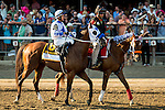 SARATOGA SPRINGS - AUGUST 27: Anaximandros #6, ridden by Leonel Reyes, during the post parade before the Travers Stakes on Travers Stakes Day at Saratoga Race Course on August 27, 2016 in Saratoga Springs, New York. (Photo by Dan Heary/Eclipse Sportswire/Getty Images)