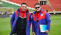 TUNJA -COLOMBIA, 14-10-2020.Diego Corredor director técnico del Deportivo Pasto.Patriotas  Boyacá y el Deportivo Pasto  en partido por la fecha 14 de la Liga BetPlay DIMAYOR I 2020 jugado en el estadio La Independencia de la ciudad de Tunja. /Dego Corredor coach of Deportivo Pasto.Patriotas  Boyaca  and Deportivo Pasto in match for the date 14 BetPlay DIMAYOR League I 2020 played at La Independencia stadium in Tunja city: VizzorImage/ Edward Leguizamon / Contribuidor