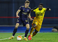 18th March 2021; Zagreb, Croatia;  Mislav Orsic of Dinamo Zagreb holds off Serge Aurier of Tottenham Hotspur during the UEFA Europa League Round of 16 Second Leg match between Dinamo Zagreb and Tottenham Hotspur at Maksimir stadium