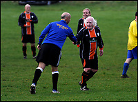 BNPS.co.uk (01202 558833)<br /> Pic: TomWren/BNPS<br /> <br /> Pictured: Dickie plays for his new team, Portland Town FC in Dorset, in 2016.<br /> <br /> He thinks it's all over - but it's not yet..<br /> <br /> Britain's oldest footballer Dickie Borthwick is vowing to overcome an injury that is threatening to end his 77 year career. <br /> <br /> The 85-year-old, who still plays Sunday league football, has been sidelined by a trapped nerve in his back for three months. <br /> <br /> He is giving himself until August to see if he can recover from the injury and get back playing again but will reluctantly hang up his boots if he can't.