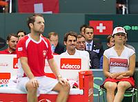 Switserland, Genève, September 20, 2015, Tennis,   Davis Cup, Switserland-Netherlands, Roger Federer watching the last match betweenHenri Laaksonen (SUI) and Tim van Rijthoven<br /> Photo: Tennisimages/Henk Koster