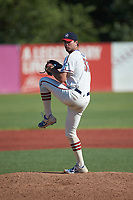 High Point-Thomasville HiToms relief pitcher Josh Nifong (33) (Duke) in action against the Old North State League West All-Stars at Hooker Field on July 11, 2020 in Martinsville, VA. The HiToms defeated the Old North State League West All-Stars 12-10. (Brian Westerholt/Four Seam Images)
