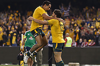 MELBOURNE, 29 JUNE 2013 - Adam ASHLEY-COOPER of the Wallabies celebrates his try with Joe TOMANE of the Wallabies during the Second Test match between the Australian Wallabies and the British & Irish Lions at Etihad Stadium on 29 June 2013 in Melbourne, Australia. (Photo Sydney Low / sydlow.com)