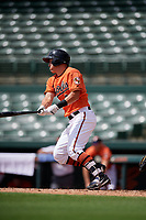 Baltimore Orioles right fielder Doran Turchin (83) follows through on a swing during a Florida Instructional League game against the Pittsburgh Pirates on September 22, 2018 at Ed Smith Stadium in Sarasota, Florida.  (Mike Janes/Four Seam Images)