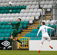 15th November 2020; Tallaght Stadium, Dublin, Leinster, Ireland; 2021 Under 21 European Championships Qualifier, Ireland Under 21 versus Iceland U21; Troy Parrott wins a header for Republic of Ireland