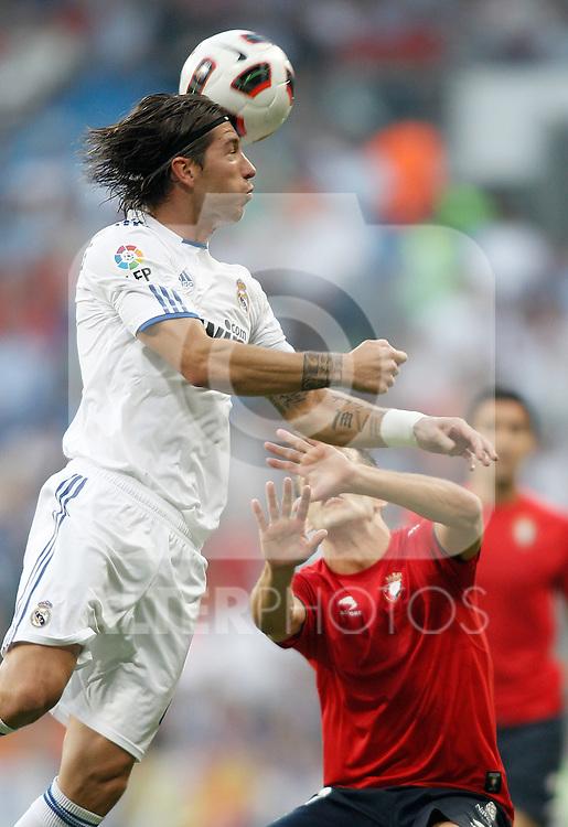 Real Madrid's Sergio Ramos during La Liga match. September 11, 2010. (ALTERPHOTOS/Alvaro Hernandez)