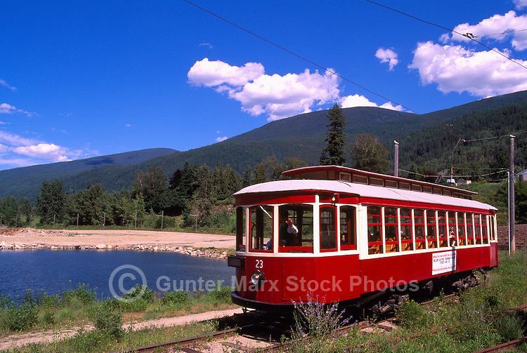 Heritage Streetcar 23, Restored Historic Electric Tram and Tourist Attraction along Kootenay Lake, Nelson, BC, British Columbia, Canada - BC Rockies Region