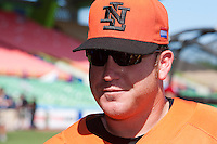 11 March 2009: #47 Sidney Ponson of the Netherlands waits during batting practice prior to  the 2009 World Baseball Classic Pool D game 6 at Hiram Bithorn Stadium in San Juan, Puerto Rico. Puerto Rico wins 5-0 over the Netherlands