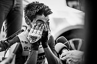 Thomas de Gendt (BEL/Lotto-Soudal) is mobbed by journalists after his (fastest time) finish <br /> <br /> Stage 13 (ITT): Pau to Pau(27km)<br /> 106th Tour de France 2019 (2.UWT)<br /> <br /> ©kramon