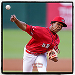 Starting pitcher Brayan Bello (30) of the Greenville Drive, the Boston Red Sox No. 19 prospect, earned his second win of the season, 5-1 over Brooklyn with 10 strikeouts, on Friday, May 14, 2021, at Fluor Field at the West End in Greenville, South Carolina. His ERA is now 1.59. (Tom Priddy/Four Seam Images)