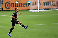 LOS ANGELES, CA - OCTOBER 25: Mohamed El-Munir #13 of LAFC moves with the ball during a game between Los Angeles Galaxy and Los Angeles FC at Banc of California Stadium on October 25, 2020 in Los Angeles, California.