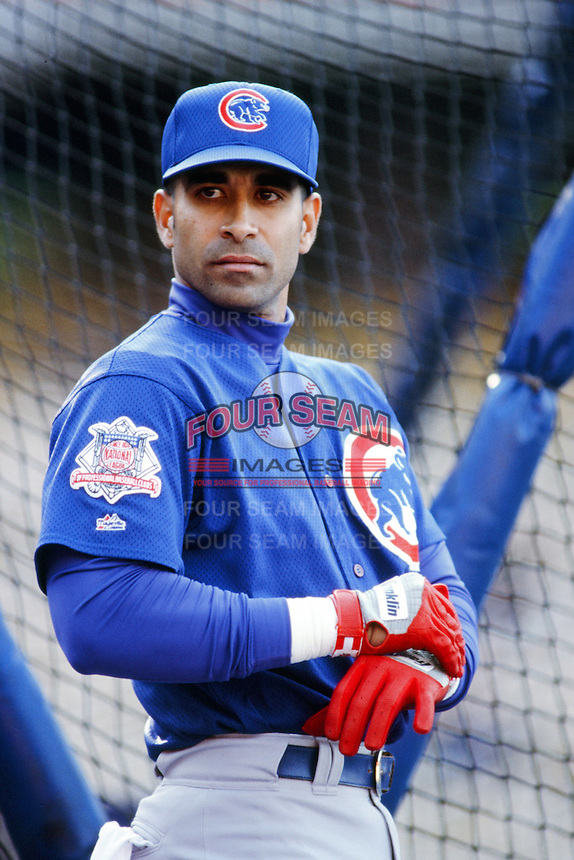 Jose Hernandez of the Chicago Cubs before a 1999 Major League Baseball season game against the Los Angeles Dodgers in Los Angeles, California. (Larry Goren/Four Seam Images)