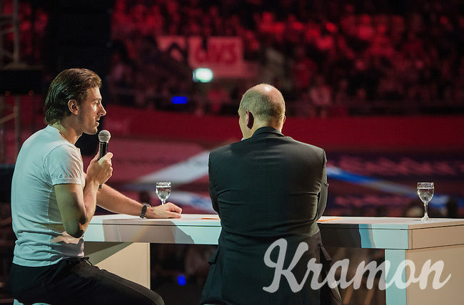 Fabian Cancellara (SUI/Trek-Segafredo) interviewed by Karl Vannieuwkerke on stage in front of 6000 fans<br /> <br /> Ciao Fabian<br /> <br /> Farewell event in 't Kuipke in Gent/Belgium for Fabian Cancellara after retiring for pro racing (november 2016)