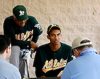 Michael Ynoa in his first day of spring training workouts at the Oakland Athletics training facility in Phoenix, AZ - March 9, 2009. Ynoa, a native of the Dominican Republic, signed a contract last summer at the age of 16 for a record bonus of $4.25 million. He is assisted in his first meeting with the press by Athletics minor league coach Juan Navarette..Photo by:  Bill Mitchell/Four Seam Images