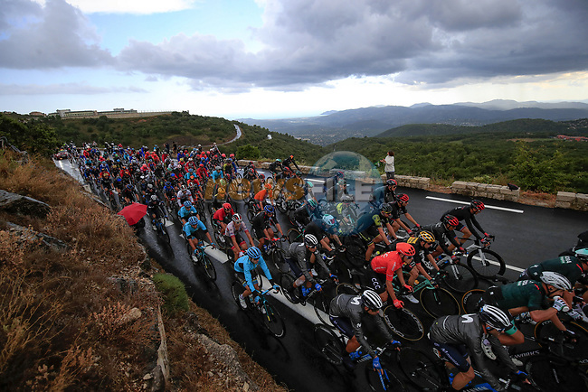 The peloton in action during a wet Stage 3 of Tour de France 2020, running 198km from Nice to Sisteron, France. 31st August 2020.<br /> Picture: Bora-Hansgrohe/BettiniPhoto   Cyclefile<br /> All photos usage must carry mandatory copyright credit (© Cyclefile   Bora-Hansgrohe/BettiniPhoto)