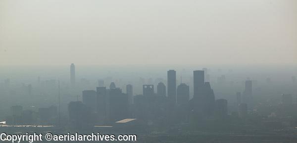 aerial photograph of the Houston skyline in the haze, Houston, Texas