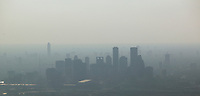 aerial photograph of the Houston skyline in the haze, Houston, Texas