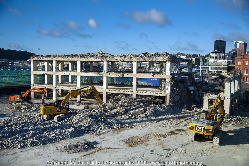 BNZ building demolition site. CentrePort in Wellington, New Zealand on Tuesday, 22 September 2020. Photo: Dave Lintott / lintottphoto.co.nz