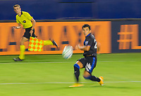 CARSON, CA - OCTOBER 14: Nick Lima #24 of the San Jose Earthquakes crosses a ball during a game between San Jose Earthquakes and Los Angeles Galaxy at Dignity Heath Sports Park on October 14, 2020 in Carson, California.