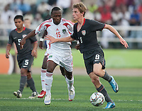 Alex Shinsky controls the ball against Takondwa Issah. US Men's National Team Under 17 defeated Malawi 1-0 in the second game of the FIFA 2009 Under-17 World Cup at Sani Abacha Stadium in Kano, Nigeria on October 29, 2009.