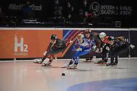 SPEEDSKATING: DORDRECHT: 06-03-2021, ISU World Short Track Speedskating Championships, SF 500m Ladies, Florence Brunelle (CAN), Sofia Prosvirnova (RSU), Selma Poutsma (NED), Kristen Santos (USA), ©photo Martin de Jong
