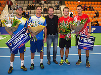21-12-13,Netherlands, Rotterdam,  Topsportcentrum, Tennis Masters, Mens doubles winners: Wesley Koolhof and Stephan Fransen(R)(NED) and runners up ,Antal van der Duim and Boy Westerhof(L)(NED), in the middel tournament director Raemon Sluiter.<br /> Photo: Henk Koster