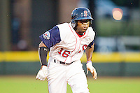 Carolina League All-Star Jackie Bradley Jr. #16 of the Salem Red Sox hustles towards third base against the California League All-Stars during the 2012 California-Carolina League All-Star Game at BB&T Ballpark on June 19, 2012 in Winston-Salem, North Carolina.  The Carolina League defeated the California League 9-1.  (Brian Westerholt/Four Seam Images)