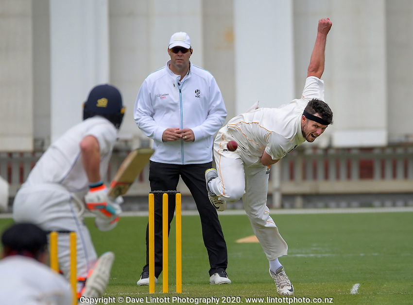 Jamie Gibson bowls during day one of the Plunket Shield match between the Wellington Firebirds and Otago at Basin Reserve in Wellington, New Zealand on Thursday, 5 November 2020. Photo: Dave Lintott / lintottphoto.co.nz