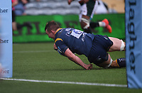 29th May 2021; Sixways Stadium, Worcester, Worcestershire, England; Premiership Rugby, Worcester Warriors versus Leicester Tigers; Ted Hill of Worcester Warriors dives to score a try
