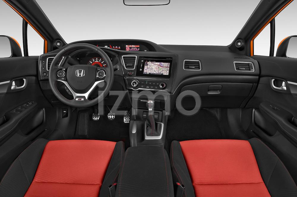 Stock photo of straight dashboard view of a 2015 Honda Civic Si 4 Door Sedan