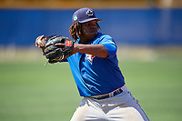 Toronto Blue Jays third baseman Vladimir Guerrero Jr. (6) throws to first base during a minor league Spring Training game against the New York Yankees on March 30, 2017 at the Englebert Complex in Dunedin, Florida.  (Mike Janes/Four Seam Images)