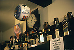 Royal Shrovetide Football. Ashbourne Derbyshire, England 1971 The football hanging up in the Green Man & Black's Head Royal Hotel, also known as the Green Man  public house before the start of the game. Note the bar sign