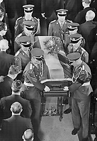 1968 FILE PHOTO - ARCHIVES -<br /> <br /> Borne from the Basilica in Quebec by an honor guard of Quebec Provincial Police, the casket of Quebec Premier Daniel Johnson yesterday began journey to Montreal where body will lie in state today before burial. Interment will be preceded by service in parish church in home riding of St. Pie de Bagot.<br /> <br /> 1968<br /> <br /> PHOTO : Graham Bezant - Toronto Star Archives - AQP