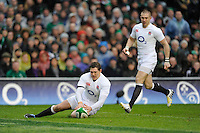 Alex Goode of England chases back to secure a loose ball during the RBS 6 Nations match between Ireland and England at the Aviva Stadium, Dublin on Sunday 10 February 2013 (Photo by Rob Munro)
