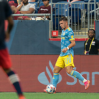 FOXBOROUGH, MA - AUGUST 8: Kai Wagner #27 of Philadelphia Union passes the ball during a game between Philadelphia Union and New England Revolution at Gillette Stadium on August 8, 2021 in Foxborough, Massachusetts.