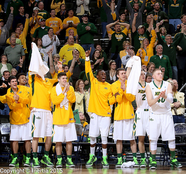 SIOUX FALLS, SD - MARCH 9: NDSU bench and fans celebrate victory in thesemi-final round Summit League Championship Tournament game Monday evening at the Denny Sanford Premier Center in Sioux Falls, SD. (Photo by Dave Eggen/Inertia)