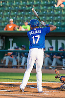 Alex Santana (17) of the Ogden Raptors at bat against the Helena Brewers in Pioneer League action at Lindquist Field on August 17, 2015 in Ogden, Utah. Ogden defeated Helena 7-2.  (Stephen Smith/Four Seam Images)