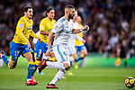 Karim Benzema of Real Madrid (C) in action during the La Liga 2017-18 match between Real Madrid and UD Las Palmas at Estadio Santiago Bernabeu on November 05 2017 in Madrid, Spain. Photo by Diego Gonzalez / Power Sport Images