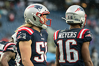 FOXBOROUGH, MA - OCTOBER 27: New England Patriots Defensive lineman Chase Winovich #50 during a game between Cleveland Browns and New Enlgand Patriots at Gillettes on October 27, 2019 in Foxborough, Massachusetts.