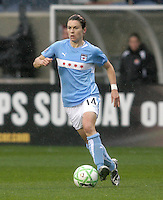Chicago Red Stars midfielder Karen Carney (14) dribbles the ball.  The Chicago Red Stars tied Sky Blue FC 0-0 at Toyota Park in Bridgeview, IL on April 19, 2009.