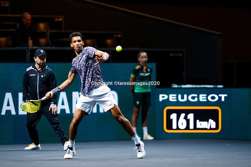 Rotterdam, The Netherlands, 11 Februari 2020, ABNAMRO World Tennis Tournament, Ahoy, <br /> Felix Auger-Aliassime (CAN).<br /> Photo: www.tennisimages.com