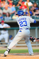 Adam Godwin swings at a pitch at Smokies Park June 11, 2009  in Sevierville, TN (Photo by Tony Farlow/ Four Seam Images)