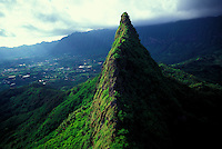 Aerial view of Olomana peak, near Kailua, windward side, Koolau moutain range,Oahu