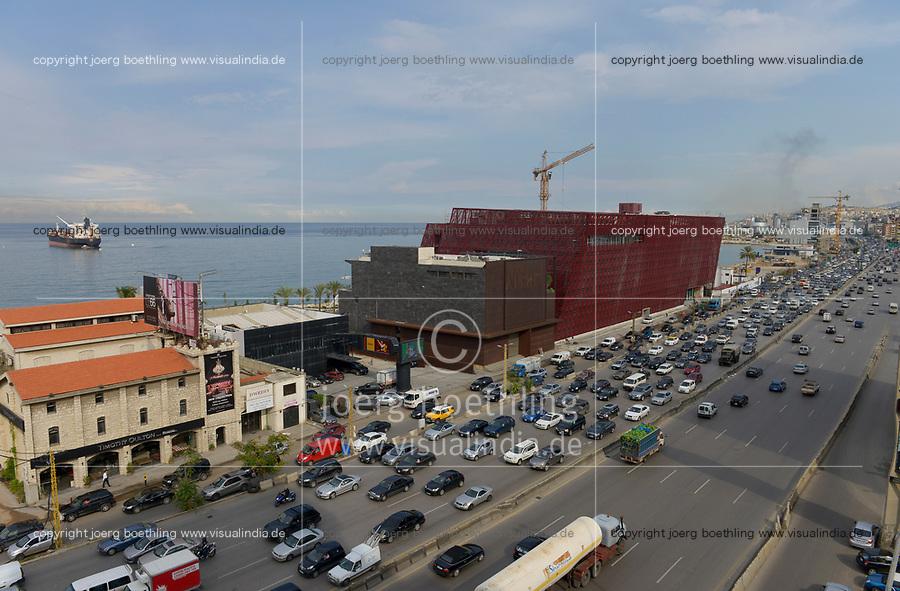 LEBANON, Beirut, heavy traffic on highway to Tripoli, Aishti mall / LIBANON, Beirut, Autobahn Beirut-Tripolis