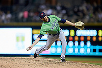 Gwinnett Braves relief pitcher Ben Rowen (22) in action against the Charlotte Knights at BB&T BallPark on July 12, 2019 in Charlotte, North Carolina. The Stripers defeated the Knights 9-3. (Brian Westerholt/Four Seam Images)