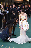 "Lilly Collins<br /> arriving for the ""TOLKIEN"" premiere at the Curzon Mayfair, London<br /> <br /> ©Ash Knotek  D3499  29/04/2019"
