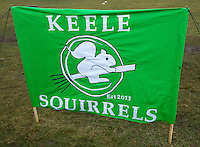 08 MAR 2015 - NOTTINGHAM, GBR - The team banner for Keele Squirrels at the 2015 British Quidditch Cup at Woollaton Hall and Deer Park in Nottingham, Great Britain (PHOTO COPYRIGHT © 2015 NIGEL FARROW, ALL RIGHTS RESERVED)